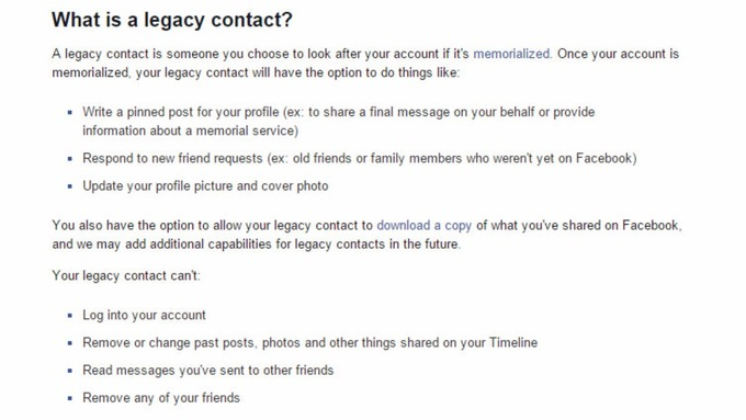 Facebook outlined the scope of the new legacy contact feature.