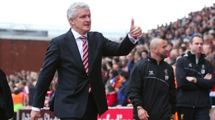 A thumbs up and a wink from Stoke City manager Mark Hughes