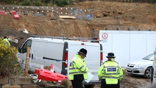Officers at the building site in South Yorkshire