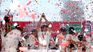 England's captain Michael Vaughan lifts the Ashes on the final day of the fifth npower Test match against Australia