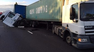 The crash on the A14 near Bar Hill
