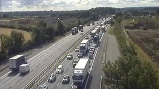 Traffic cameras on the M1 showing queues on the M1 near Milton Keynes.
