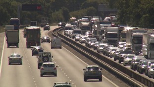 Long delays on the M1 near Milton Keynes with 11 miles of queuing traffic.