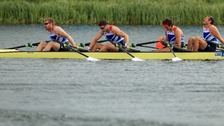 No medals for the Great Britain Quad sculls team. Hexham Rower Matt Wells is pictured on the far left.