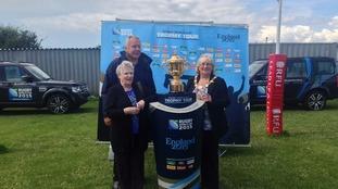 The Webb Ellis Trophy has arrived in Workington.