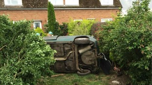 The car crashed into a garden.