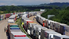 Lorries parked as part of Operation Stack along the M20 in Ashford, Kent, as Channel crossings are disrupted by migrant activity in Calais.