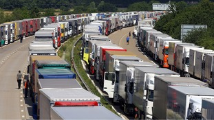 Lorries parked as part of Operation Stack along the M20 in Ashford, Kent.