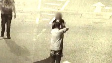 Barrett aiming the gun at a woman's head was captured on CCTV