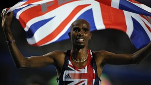 Mo Farah with flag