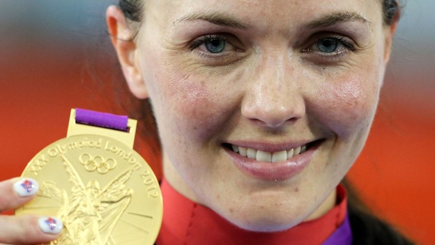 Victoria Pendleton with her gold medal following the women's keirin.