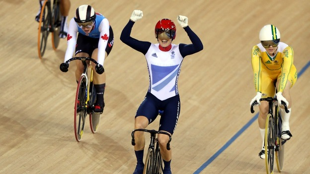 Pendleton celebrates as she crosses the line at the velodrome at Olympic Park.