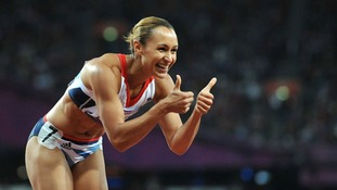 Great Britain's Jessica Ennis celebrates after the Women's Heptathlon 200m
