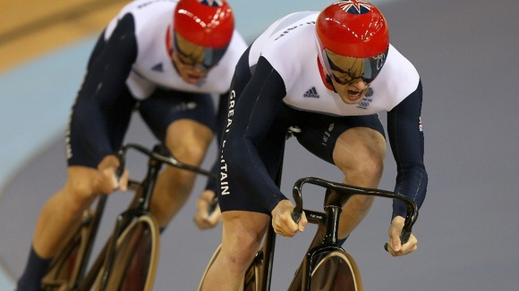 Jason Kenny and Sir Chris Hoy during the Men's Team Sprint Final