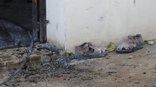 A pair of shoes are among little left following the fire.