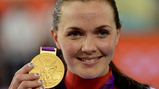 Pendleton dons the Great Britain flag after winning gold.