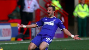 Noel Hunt celebrates scoring for Ipswich Town against Charlton Athletic last season.