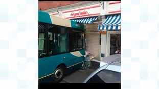 Arriva bus crashes into Whitby shopfront