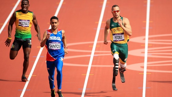 South Africa's Oscar Pistorius in the Men's 400m Heats during day eight of the London Olympic Games