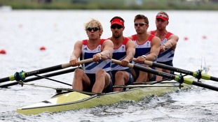 Great Britain's Men's Four of Andrew Triggs Hodge, Tom James, Pete Reed and Alex Gregory at Eton Dorney Rowing Lake earlier this week