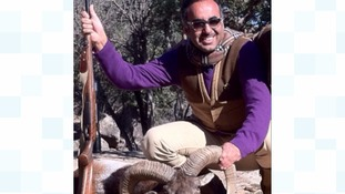 Mr Al-Hasawi poses with a ram