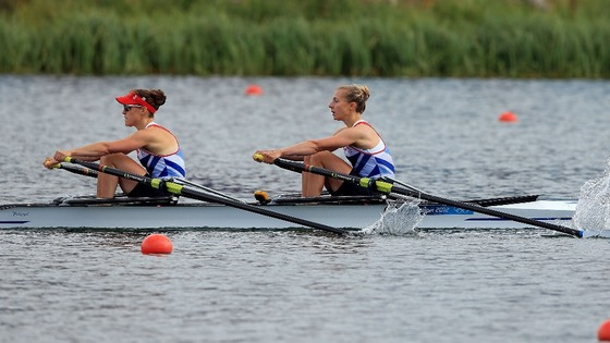Sophie Hosking (left) and Katherine Copeland in action during their semi final