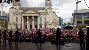 Lucy Spraggan entertains the crowd at Leeds Pride