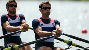 Great Britain's Mark Hunter (right) and Zac Purchase in action in their heat in the men's lightweight double sculls