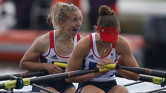 Katherine Copeland and Sophie Hosking celebrate winning the women's lightweight double sculls