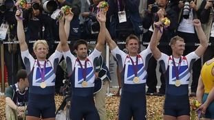 Gold medallists of Britain Alex Gregory, Tom James, Pete Reed and Andrew Triggs Hodge