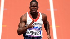 wain Chambers in the Men's 100m Heats