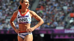 Jessica Ennis after competing in the 100m Hurdles