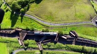The train derailment near New Cumnock.