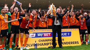 Wolverhampton Wanderers' manager Kenny Jackett celebrates League One success in 2014