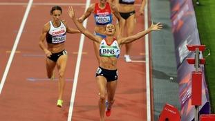 Jessica Ennis wins Olympic gold medal in women's heptathlon