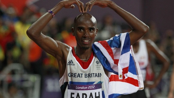 Mo Farah celebrates.