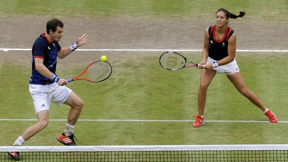 Murray and Robson on their way to the Olympic mixed doubles final.