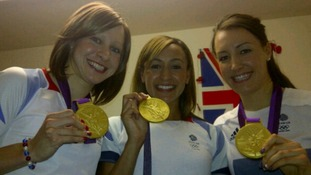 Joanna Rowsell and team mate Dani King meet up with fellow Olympic gold winner Jessica Ennis