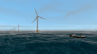 A computer generated image of the wind farm