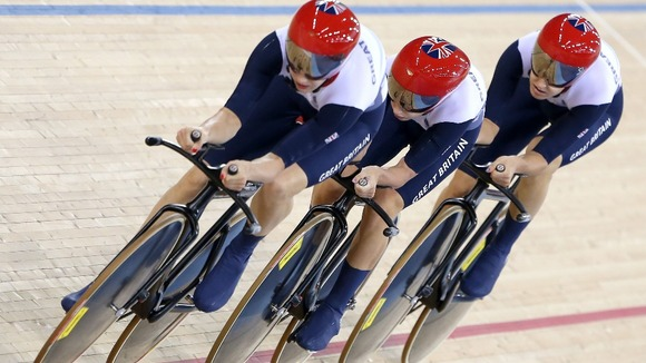 Great Britain&#x27;s Dani King, Joanna Rowsell and Laura Trott on their way to winning gold in the Women&#x27;s Team Pursuit Final at the Velodrome