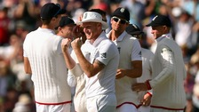 England celebrate after taking a wicket at the third Test in Edgbaston
