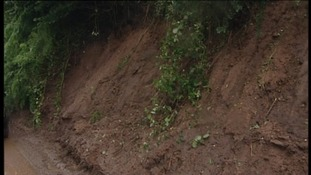 Landslip in Failand, North Somerset