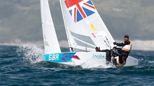 ain Percy and Andrew Simpson of Great Britain sail during the Star Men&#x27;s Keelboat race