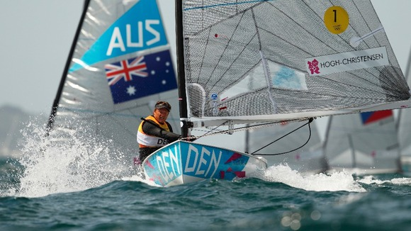 Denmark's Jonas Hogh-Christensen racing in the Finn class on Weymouth Bay today during the Olympics.