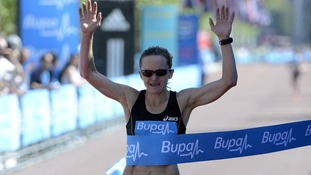 Great Britain's Mara Yamauchi wins the Bupa London 10,000 in London.