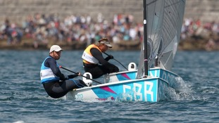 Great Britain's Ben Ainslie and Denmark's Jonas Hogh-Christensen (behind) battle for position