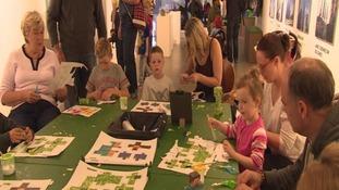 Children at the Minecraft exhibition