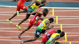 Usain Bolt triumphed in the 100m final on Sunday.
