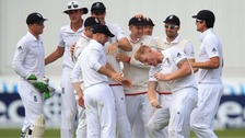 Ben Stokes and his team celebrate yesterday.