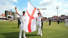 England's Mark Wood and Ben Stokes celebrates after winning the Ashes